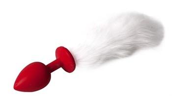 Красная силиконовая анальная пробочка с пушистым белым хвостом