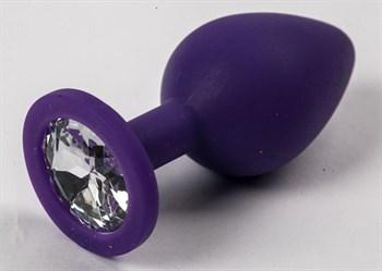 Фиолетовая силиконовая анальная пробка с прозрачным стразом - 8,2 см.