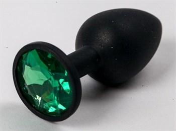 Черная силиконовая анальная пробка с зеленым стразом - 7,1 см.