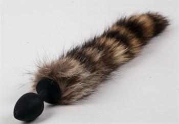Черная силиконовая анальная пробка с полосатым хвостом