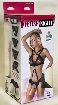 Костюм БДСМ  Fetish Night с двумя насадками - 18 и 17 см.