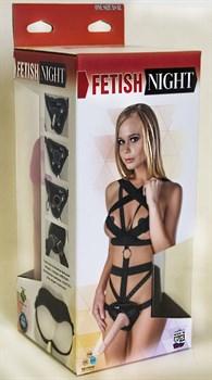 Костюм БДСМ Fetish Night без шнуровки с двумя насадками - 18 и 12 см.