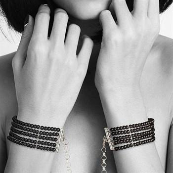 Чёрные дизайнерские наручники Plaisir Nacre Bijoux