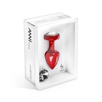 Красная анальная пробка с 2 сменными кристаллами Anni Magnet T3 Red Cristal/black - 9 см.