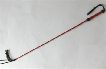 Плетеный длинный красный лаковый стек с наконечником-кисточкой - 85 см.