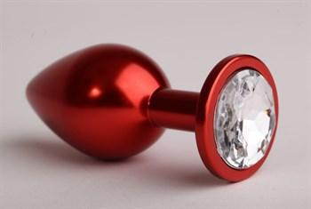 Красная анальная пробка с прозрачным стразом - 8,2 см.