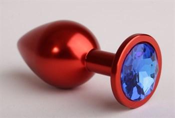 Красная анальная пробка с синим стразом - 8,2 см.
