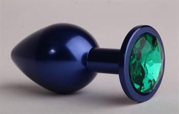 Синяя анальная пробка с зеленым кристаллом - 8,2 см.
