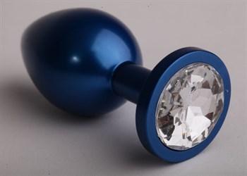 Синяя анальная пробка с прозрачным кристаллом - 8,2 см.