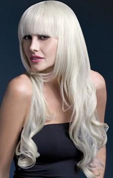 Парик блондинки с челкой и кудряшками Yasmin