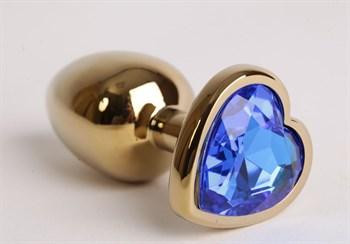 Золотистая анальная пробка с синим стразиком-сердечком - 7,5 см.