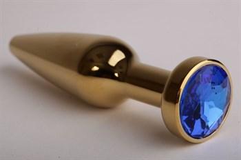 Золотистая анальная пробка с синим кристаллом - 11,2 см.