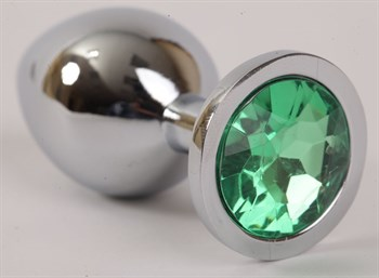 Серебристая анальная пробка с зеленым стразом - 9,5 см.