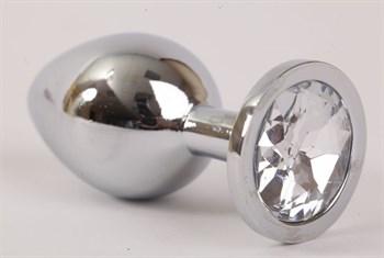 Серебристая анальная пробка с прозрачным стразом - 8,2 см.