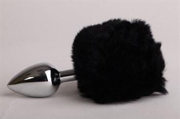 Серебристая анальная пробка c черным хвостом  Задорный Кролик