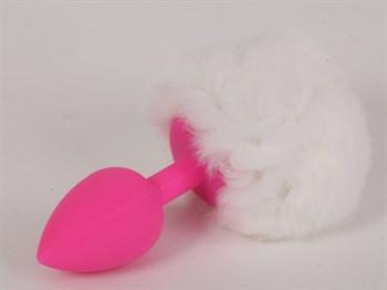 Розовая анальная пробка с белым хвостом  Задорный Кролик