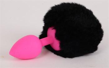 Розовая анальная пробка с черным хвостом  Задорный Кролик