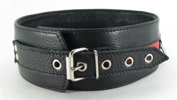 Черно-красный кожаный ошейник увеличенного размера с кольцом