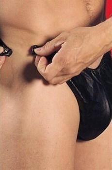 Кожаные мужские трусы с боковыми клипсами