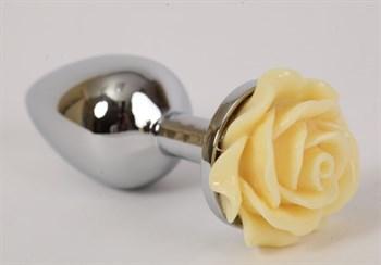 Серебристая анальная пробка с жёлтой розой - 7,6 см.