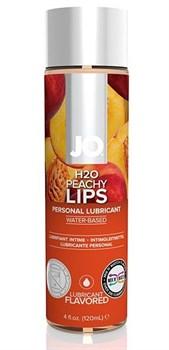 Лубрикант на водной основе с ароматом персика JO Flavored Peachy Lips - 120 мл.