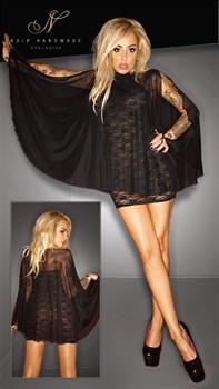 Чёрное кружевное платье с прозрачной накидкой