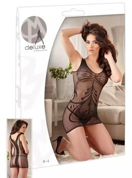 Чёрное платье-сетка с имитацией двойной шнуровки на спинке