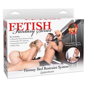 Набор для фиксации с металлическими наручниками и кляпом Fantasy Bed Restraint System
