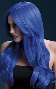 Синий парик с длинной челкой Khloe