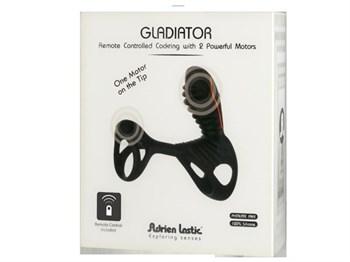 Чёрная эрекционная насадка Gladiator со стимулятором клитора и пультом управления вибрацией