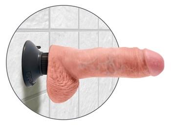 Вибромассажер со съёмной присоской 8  Vibrating Cock with Balls - 20,3 см.
