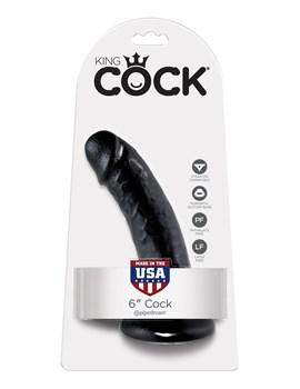 Чёрный фаллоимитатор с присоской 6  Cock - 15,2 см.