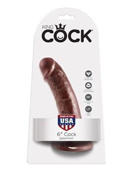 Коричневый фаллоимитатор на присоске 6  Cock - 15,2 см.