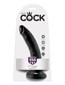 Чёрный фаллоимитатор с присоской 7  Cock - 17,8 см.