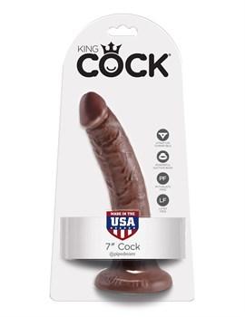 Коричневый фаллоимитатор с присоской 7  Cock - 17,8 см.