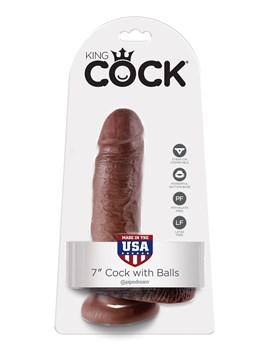 Коричневый фаллоимитатор с мошонкой 7  Cock with Balls - 19,4 см.