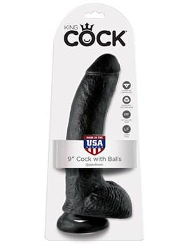 Чёрный фаллоимитатор 9  Cock with Balls - 22,9 см.