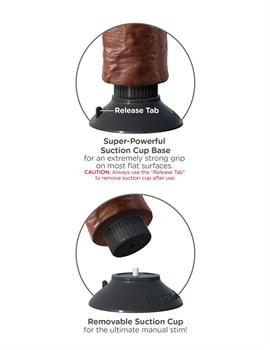 Коричневый вибратор-гигант со съёмной присоской 10  Vibrating Cock with Balls - 25,4 см.