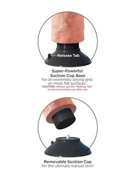 Телесный вибратор с мошонкой и съемной присоской 7  Vibrating Cock with Balls - 17,8 см.