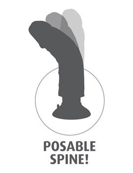 Телесный виброфаллос со съемной присоской 9  Vibrating Cock with Balls - 22,9 см.
