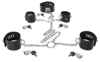 Набор для фиксации: наручники, оковы и ошейник, соединённые цепями и кольцами
