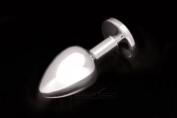 Большая серебристая анальная пробка с круглым кончиком и ярким сиреневым кристаллом - 9 см.
