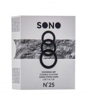 Набор из 3 чёрных эрекционных колец SONO No.25