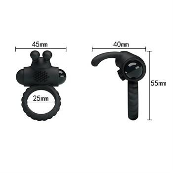 Эрекционное кольцо с клиторальным виброзайцем Eudora