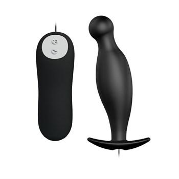 Чёрный анальный вибромассажер с пультом управления - 11,7 см.
