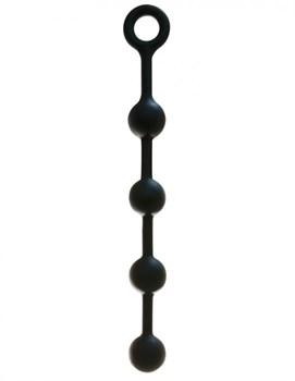 Чёрная анальная цепочка из силикона - 38 см.