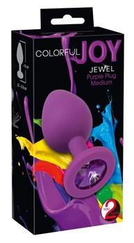 Фиолетовая анальная пробка с кристаллом - 8 см.