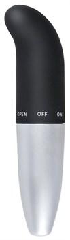 Чёрно-серебристый мини-вибратор для точки G - 14 см.