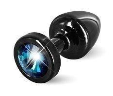 Чёрная пробка с голубым кристаллом ANNI round black T1 Blue - 6 см.