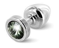 Серебристая пробка с черным кристаллом ANNI round Silver T1 Black Diamond - 6 см.
